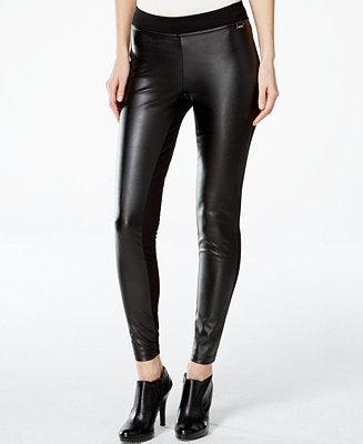 Calvin Klein Faux Leather Front Leggings Pants Amp Capris
