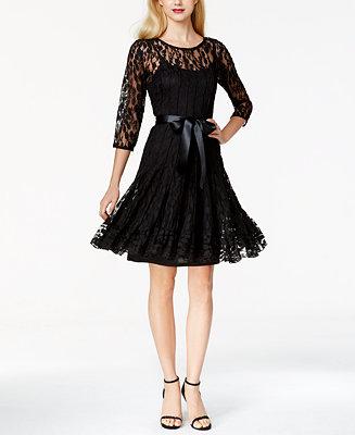 MSK Illusion Floral Lace Dress - Dresses - Women - Macy's