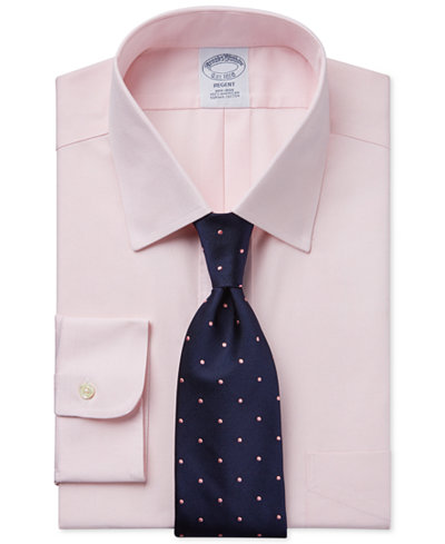 Brooks Brothers Regent Slim-Fit Non-Iron Medium Pink Pinpoint Solid Dress Shirt and Repp Dot Tie