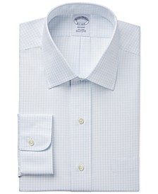 Regent Slim-Fit Non-Iron Light Blue Grid Check Dress Shirt