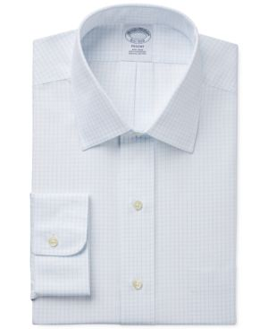 BROOKS BROTHERS Regent Slim-Fit Non-Iron Light Blue Grid Check Dress Shirt