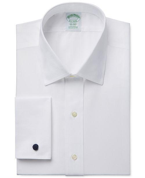 2e525f4729da Brooks Brothers Milano Extra-Slim Fit Non-Iron White Solid French Cuff  Dress Shirt