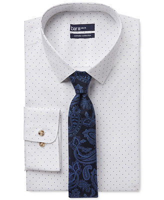 Bar Iii Carnaby Collection Slim Fit White Navy Polka Dot