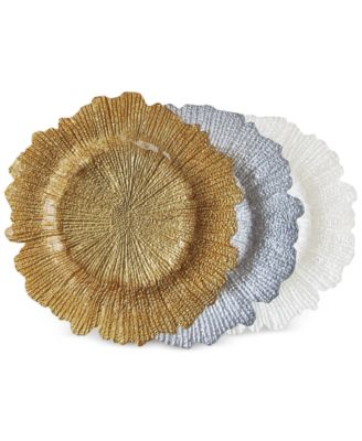 Jay Import Glass Gold-Tone Reef Charger Plate