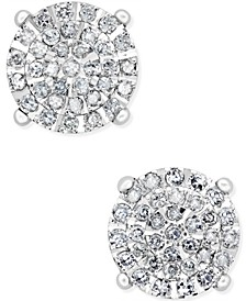 Diamond Cluster Stud Earrings (1/2 ct. t.w.) in Sterling Silver