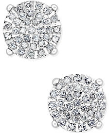 Diamond Cluster Stud Earrings (1/2 ct. t.w.) in Sterling Silver