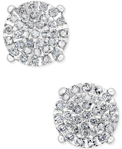 f7a3ca22b5d Macy s Diamond Cluster Stud Earrings (1 2 ct. t.w.) in Sterling Silver