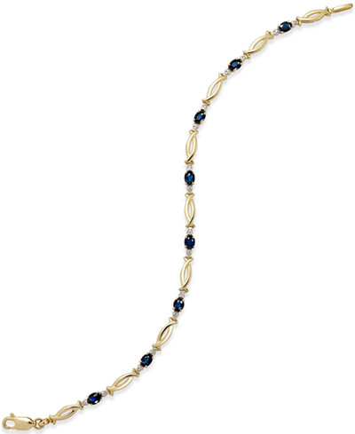 Sapphire (1-5/8 ct. t.w.) and Diamond Accent Bracelet in 14k Gold