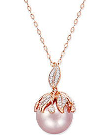 Pink Windsor Pearl (13mm) and Diamond Accent Pendant Necklace in 14k Rose Gold