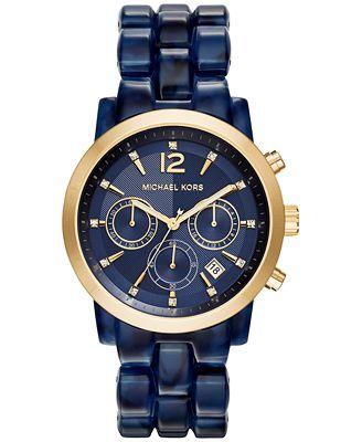 michael kors women 39 s chronograph audrina navy bracelet. Black Bedroom Furniture Sets. Home Design Ideas