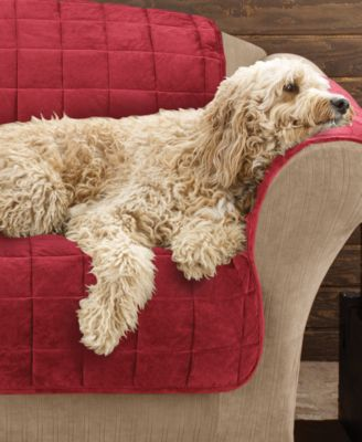 Sure Fit Velvet Deluxe Pet Sofa Slipcover with Sanitize Odor Release