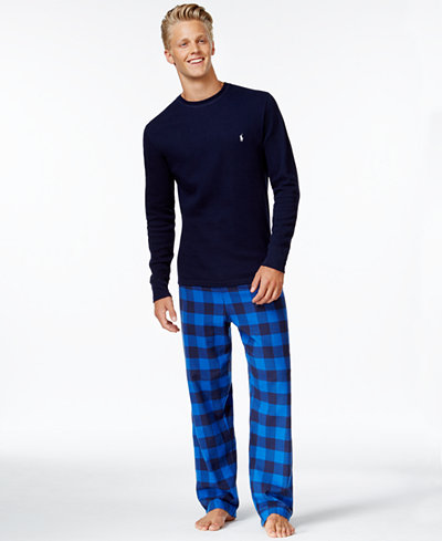 Polo Ralph Lauren Dartmouth Plaid Pajama Pant and Solid Long Sleeve Crew-Neck Waffle Thermal Top