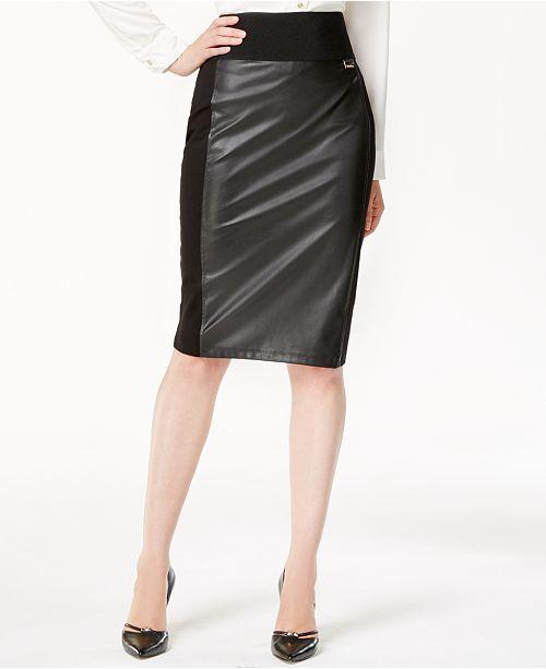 Calvin Klein Faux-Leather Panel Pencil Skirt