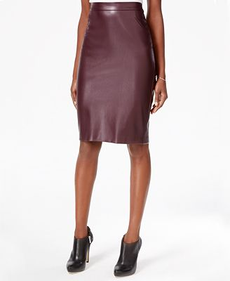 Bar III Faux-Leather Pencil Skirt, Created for Macy's