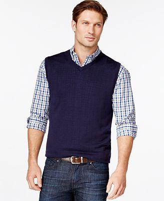 Cutter & Buck Men's Big and Tall Douglas V-Neck Sweater Vest