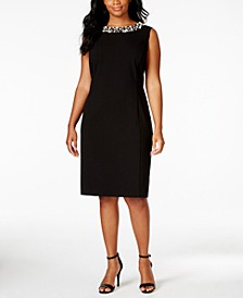 Plus Size Beaded-Trim Sheath Dress