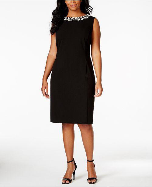 Plus Size Beaded-Trim Sheath Dress