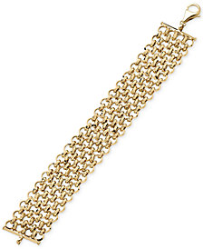 Interlocking Chain Bracelet in 14k Gold, Made in Italy