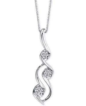 Sirena Diamond Swirl Pendant Necklace (1/3 ct. t.w.) in 14k White Gold -  Macy's