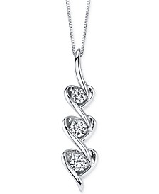 Sirena Diamond Heart Pendant Necklace in 14k White Gold (1/5 ct. t.w.)