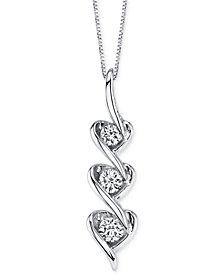 Sirena Diamond Heart Pendant Necklace in 14k White Gold (1/5 ct. t.w.)