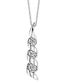 Sirena Diamond Swirled Pendant Necklace (1/8 ct. t.w.) in 14k White Gold
