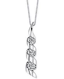 Sirena Diamond Swirled Pendant Necklace (1/8 ct. t.w.) in 14k White Gold