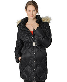 A Pea in the Pod Maternity Belted Quilted Puffer Coat