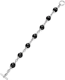Onyx (10mm) Beaded Bracelet in Sterling Silver