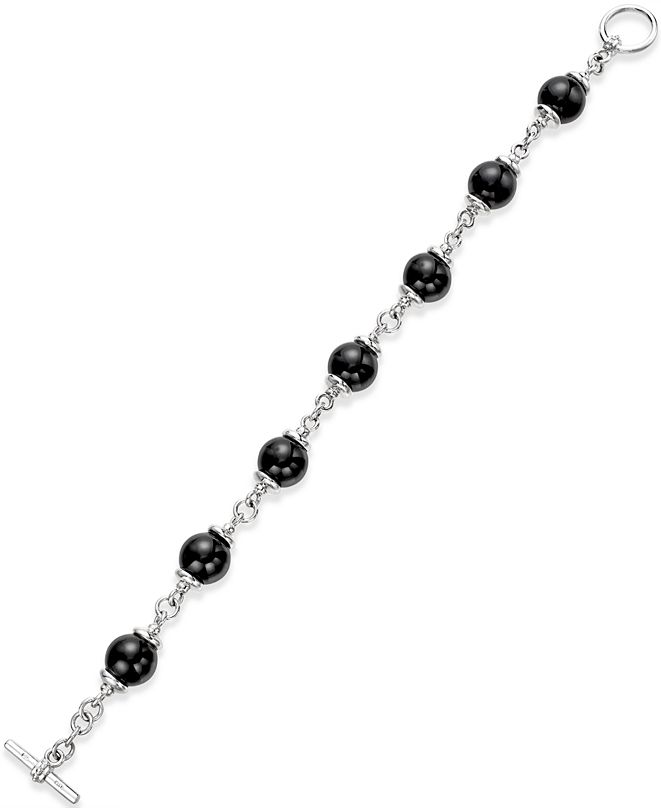 Macy's Onyx (10mm) Beaded Bracelet in Sterling Silver