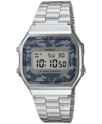 Casio Men's Digital Stainless Steel Bracelet Watch 38x36mm A168WEC-1MT