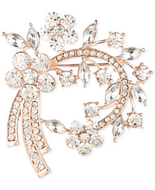 Anne Klein Silver-Tone Floral Crystal Pin, Created for Macy's