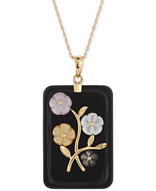 Jade or Onyx Carved Flower Pendant Necklace (25x38mm) in 14k Gold-Plated Sterling Silver