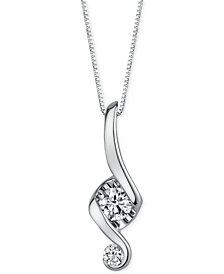 Proud Mom Diamond Swirl Pendant Necklace (1/3 ct. t.w.) in 14k White Gold