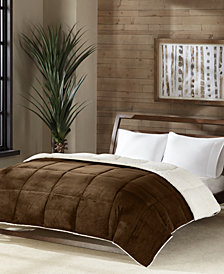 Premier Comfort Reversible Micro Velvet and Sherpa Down Alternative Twin Comforter, Hypoallergenic