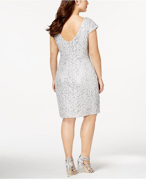 Adrianna Papell Plus Size Sequined Lace Shift Dress Dresses