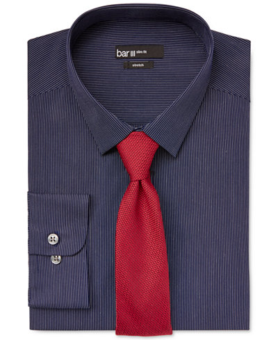 Bar III Slim-Fit Navy Thin Stripe Dress Shirt and Carnaby Collection Solid Knit Skinny Tie, Created for Macy's