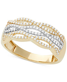 Diamond Cutout Band (1/3 ct. t.w.) in 14k White and Yellow Gold