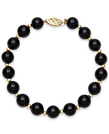Faceted Onyx Bead Bracelet (3mm) in 10k Gold