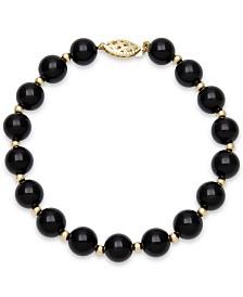 Onyx Bead Bracelet (8mm) in 10k Gold