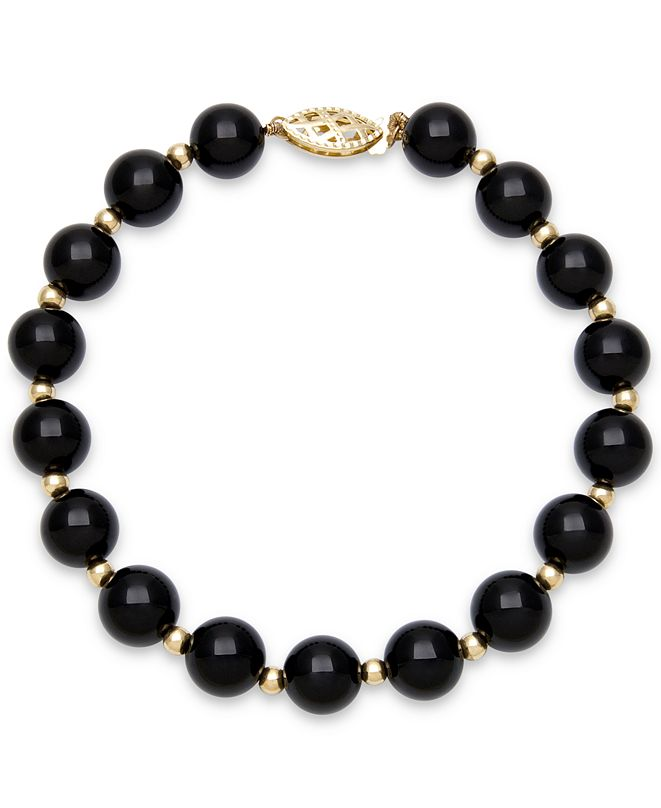 Macy's Onyx Bead Bracelet (8mm) in 10k Gold