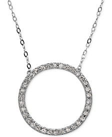 Diamond Circle Pendant Necklace (1/10 ct. t.w.) in 10k White Gold