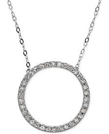 Diamond Circle Pendant Necklace (1/10 ct. t.w.) in 10k White Gold