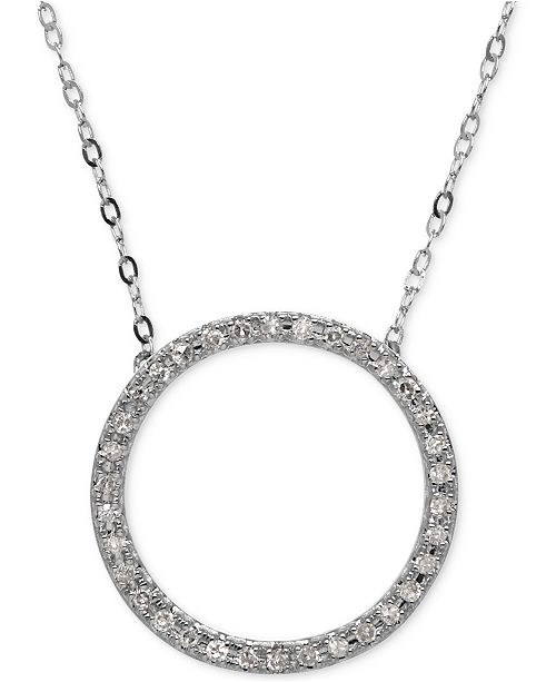 Macys diamond circle pendant necklace 110 ct tw in 10k white main image aloadofball Gallery