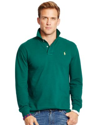 ... Ralph Lauren Long Sleeved Red Soft Mesh Men Polo ...