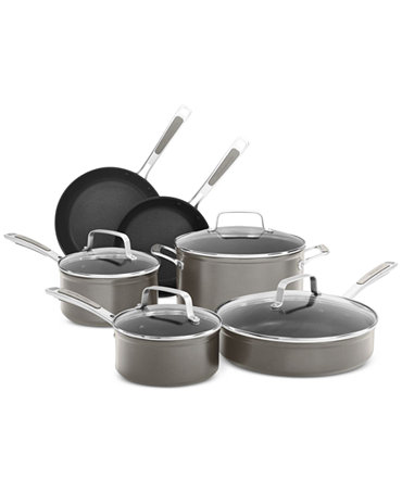 Kitchenaid kc2h1s10 10 piece nonstick cookware set cookware sets kitchen macy 39 s - Kitchen aid pan set ...
