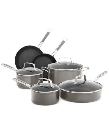 Kitchenaid kc2h1s10 10 piece nonstick cookware set cookware sets kitchen macy 39 s - Kitchen aid pan set ...