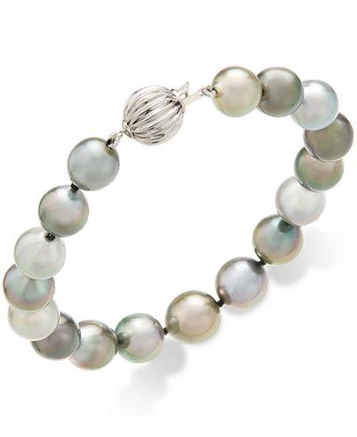 Cultured Tahitian Pearl (8-10mm) Bracelet in 14k White Gold