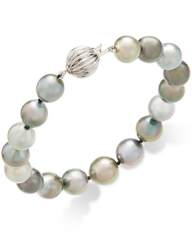 Macy's Cultured Tahitian Pearl (8-10mm) Bracelet in 14k White Gold