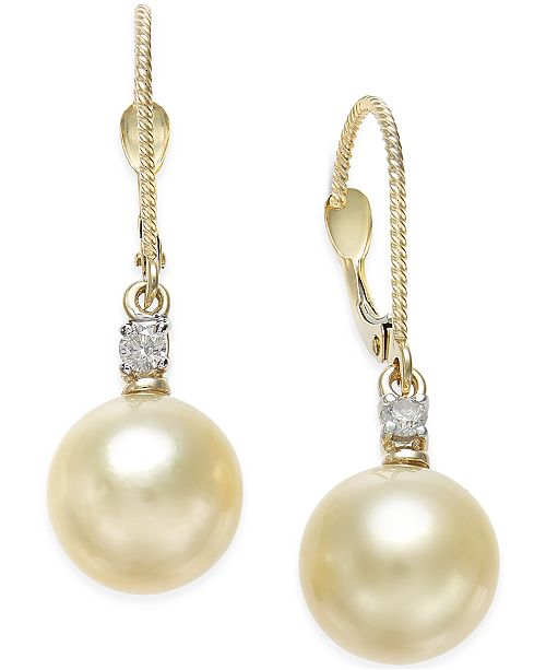 Macy's Cultured Golden South Sea Pearl (9mm) and Diamond (1/10 ct. t.w.) Drop Earrings in 14k Gold